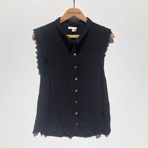 Anthro Meadow Rue Black Eyelet Sleeveless Top L